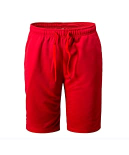 PASATO New!Summer Men's Shorts Sports Work Casual Classic Fit Short Pants (Red, M)