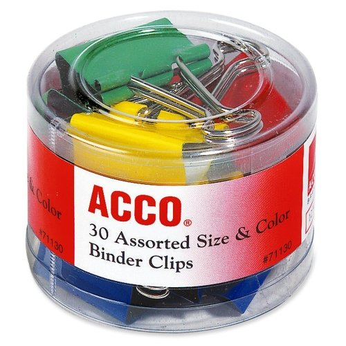 Acco Colored Binder Clips - Assorted - 1 Each - Assorted Acco Colored Binder