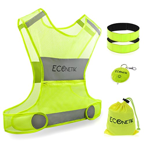 Econetik Reflective Running Vest High Visibility Adjustable Waist & Armbands Safety Gear Perfect for Cycling Jogging Dog Walking Motorcycling Hitchhiking Lightweight for Men Women & - Kits Womens Cycling