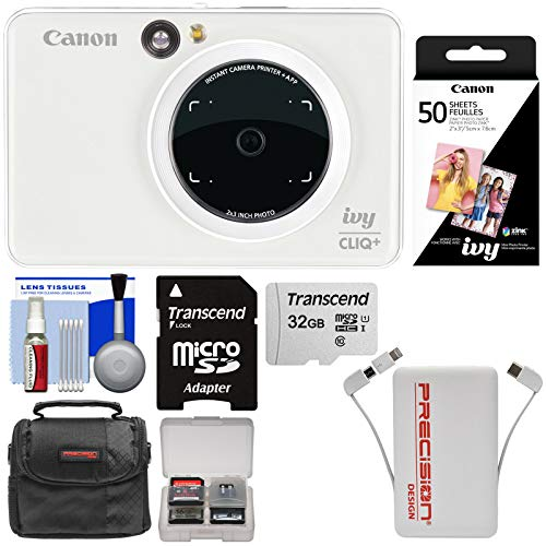 - Canon Ivy Cliq+ Instant Digital Camera Printer & App via Bluetooth (Pearl White) with 32GB Card + 50 Color Prints + Case + Power Bank Charger + Kit