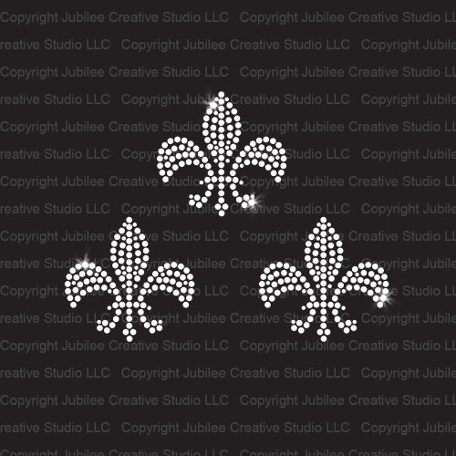 Set of 3 Small Fleur de Lis Iron On Rhinestone Crystal T-shirt Transfers by JCS Rhinestones