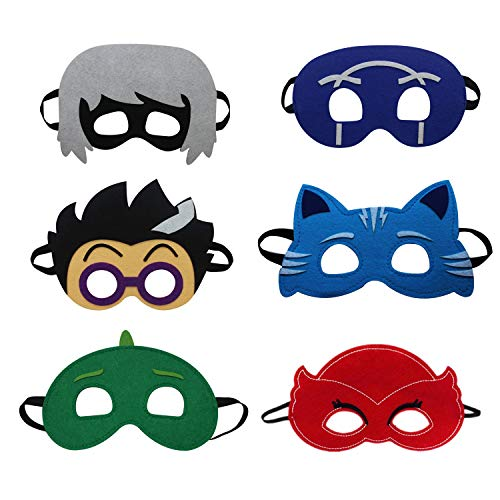Kids Cartonn Hero Party Favors Dress Up Cosplay Costume Set of 6 Soft Felt Masks]()