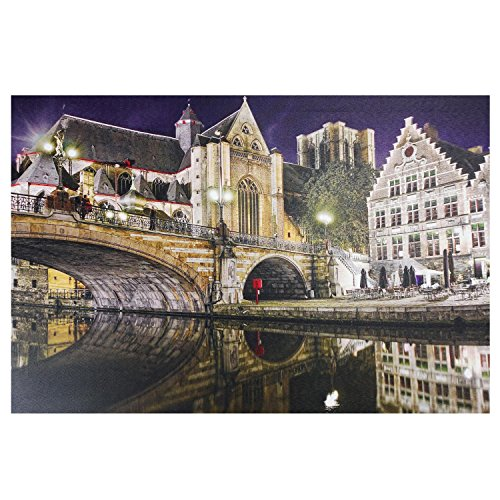Northlight Seasonal 15.75 in. x 23.5 in. LED Lighted St. Michael's Bridge and Church in Ghent, Belgium Canvas Wall Art from Northlight Seasonal