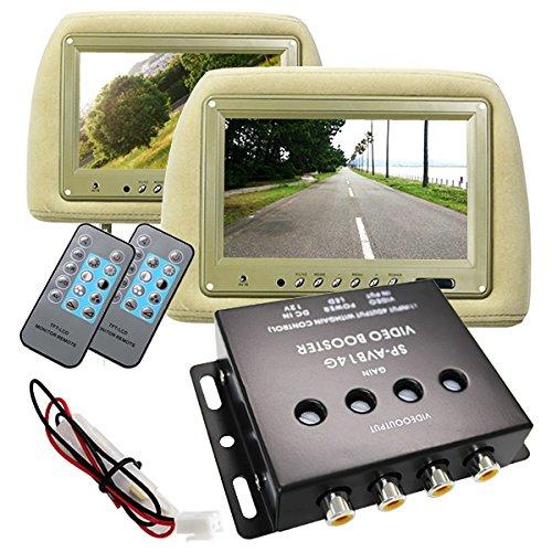 【色選択】【4ch分配器付き】ヘッドレストモニター 9インチ 左右セット(2台) 800×480pix WVGA 高画質 LED液晶 液晶モニター 高級モケット (ベージュ) B014VRH6CM ベージュ ベージュ