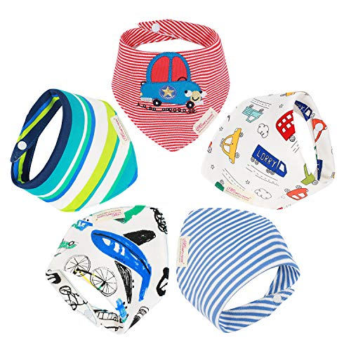 Christmas Baby Bandana Drool Bibs for Drooling and Teething Gift Set for Boys & Girls & Unisex【2018 New】 (Mixed Colors×5 Pack, 0-24 Months)