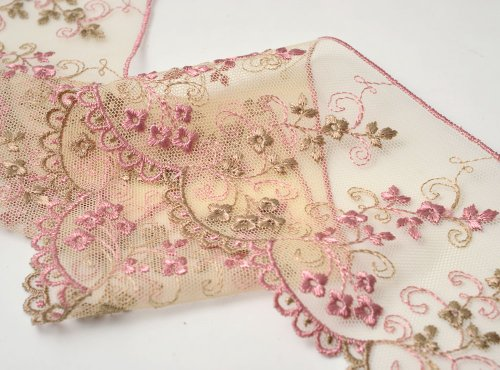 MAUVE Flower Embroidered tulle lace Trim, 3-1/4 Inch by 1 Yard, STEP-3801