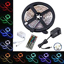 Led Strip,Topmax, 5050 16.4ft/5m Led Strip Lights,RGB Led Strips Lighting Kit +44 Key Remote+12V 3A US Charger (built-in IC and fuse) Power Supply