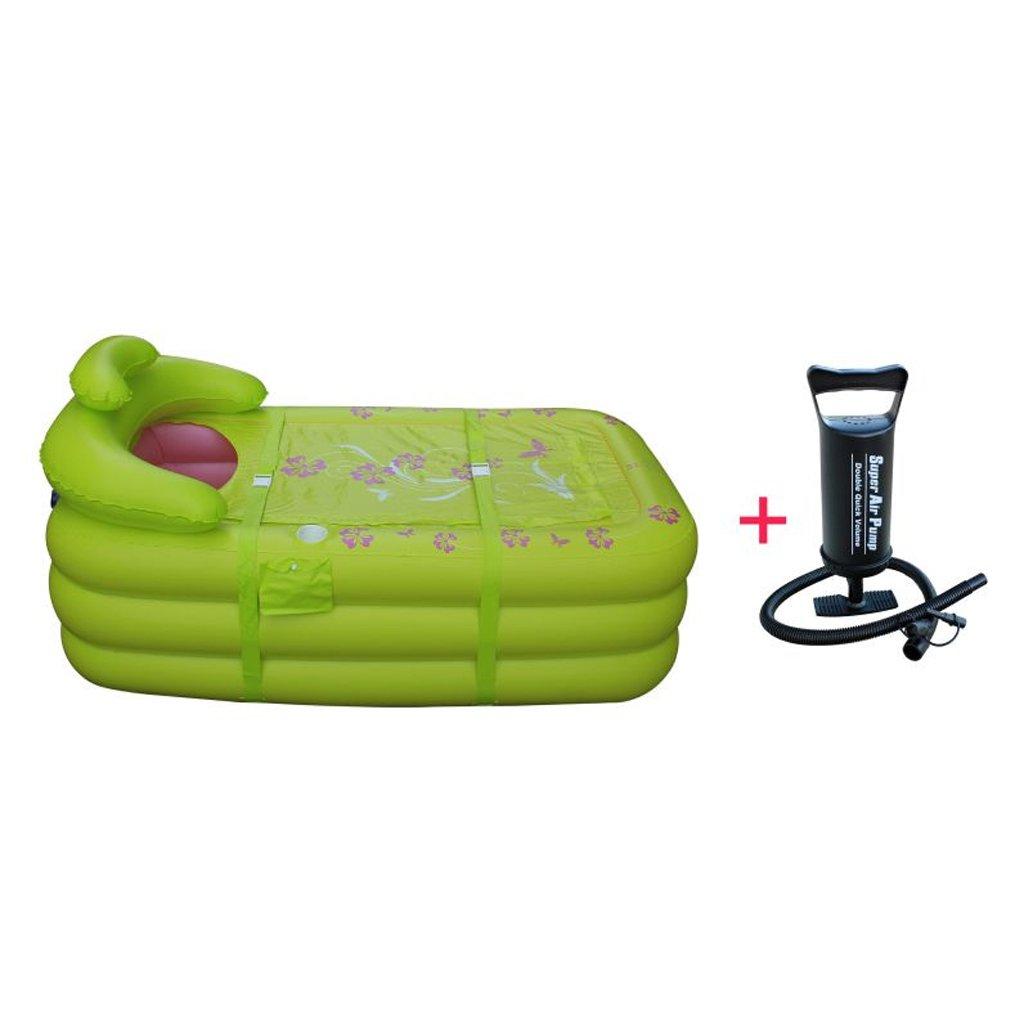 Sunhai& Large Inflatable Bathtub Adult Children's Bathtubs Thickening Folding Bath Tubs Plastic Bathtubs ( Color : Green )