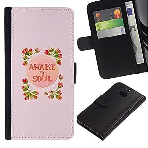 For HTC One M8,S-type® Awake Soul Inspiring Spring Flowers Peach - Dibujo PU billetera de cuero Funda Case Caso de la piel de la bolsa protectora