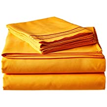 Elegant Comfort 1500 Thread Count Wrinkle and Fade Resistant Egyptian Quality Ultra Soft Luxurious 4-Piece Bed Sheet Set, Queen, Elite Orange