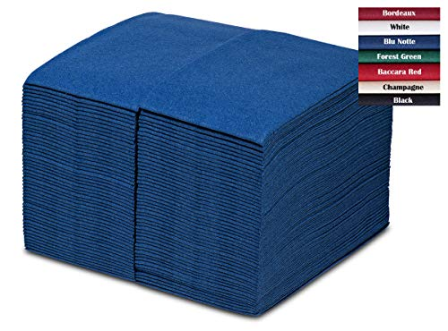 GreenOlive Paper Dinner Napkins Blue 100 Pack – Thick Linen Feel – Disposable Hand Towels or Guest Towels For Wedding…