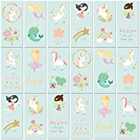PapaKit Unicorn and Friends 36 Temporary Tattoos Set | 18 Individually Wrapped Sheets | Non-Toxic FDA Approved Ingredients Safe Removable | Girls Children