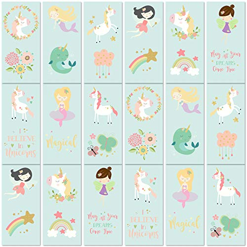 PapaKit Unicorn and Friends 36 Temporary Tattoos Set | 18 Individually Wrapped Sheets | Non-Toxic FDA Approved Ingredients Safe Removable | Girls Children's Birthday Party Favor Supplies ... (Best Best Friend Tattoos)