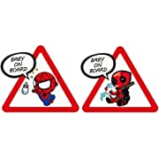 Removable Baby On Board Stickers Decal for Cars, Chris.W 2Pcs Funny Super Hero Waterproof Safety Warning Sign Decal for Parents