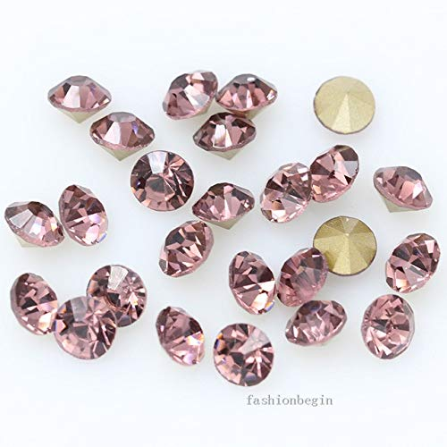 Pukido 144p ss1 1mm Round Assorted Pointed Foiled Back Czech Crystal Faceted Glass Rhinestones Brooch Watch Jewelry Repair Loose Beads - (Color: lt Amethyst) from Pukido