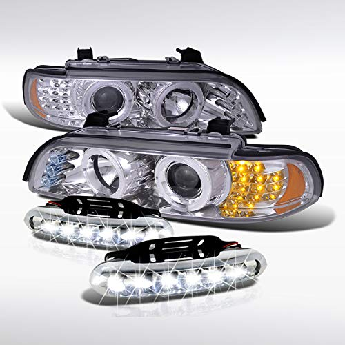 Autozensation For BMW E39 5-Series Chrome Projector Headlights, Universal LED DRL Bumper Fog Lights 97 98 99 00 01 02 03