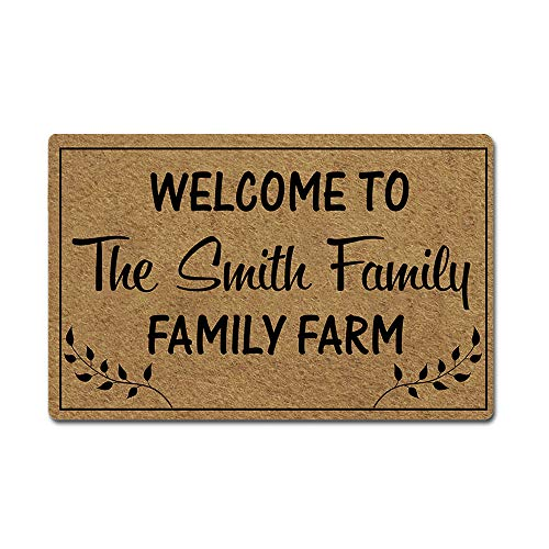 ly Name Personalized Doormat Welcome to The Farm Door Mat Rubber Non-Slip Entrance Rug Floor Mat Funny Home Decor Indoor Mat 23.6 x 15.7 Inches, 3/16