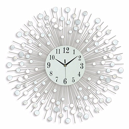 DHWM-Creative iron clock, the living room mirror watch large size decorative clock mute by DHWM