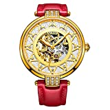 BUREI Women's Skeleton Automatic Watch with Gold Dial and Red Calfskin Leather Strap (Gold)