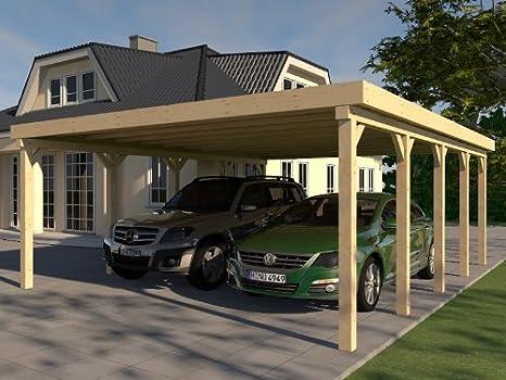CarPort tejado plano Avus VI – 600 X 700 cm Kvh montar construcción de madera maciza: Amazon.es: Jardín