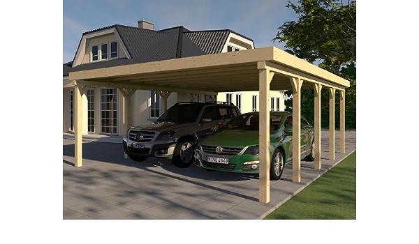 CarPort tejado plano Avus VI – 600 X 700 cm Kvh montar construcción de madera maciza