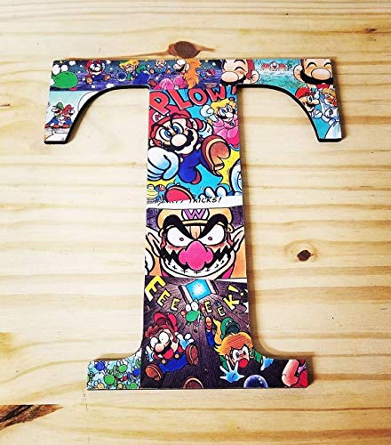 9.5 inch Super Mario, Wall letters, wood names, boys room, Girls room, nursery letters, Decorative letters, baby letters, kids room, customize, decor