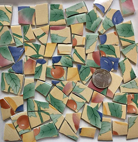 Broken China Mosaic Tile Art Supply for Crafts ~ Pastel Green Blue Yellow & Pink Fruit Tiles (T#A053)