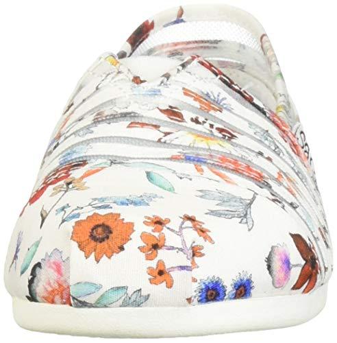 Skechers Women's Bobs Plush-Daisy Darling. Sheer Panel Floral Slip on Ballet Flat