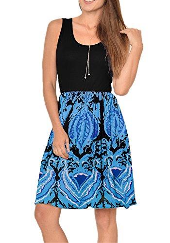 (Poulax Women Casual Sleeveless Striped Print Swing Mini T Shirt Tank Dress,Z-Z Dark Blue,S)