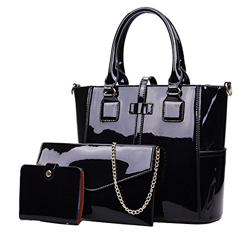 Yan Show Women's New Zipper Bag 3PCS Handbags Patent Leather Fashion Shoulder Bag Large Capacity Handbag, Black