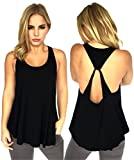 AMiERY Women's Sexy Sleeveless Backless Shirts Juniors Yoga Gym Halter Tank Tops