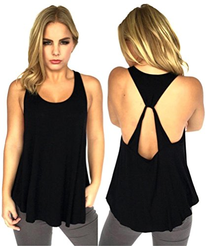 AMIERY Women's Simple and Cute All-Match Backless Crossed Vest T-Shirt Tank Tops (M, Black) (Workout Racerback Tank compare prices)