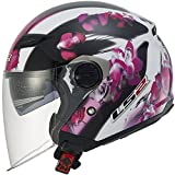 LS2 Helmets 569 Track Floral Open Face Motorcycle Helmet with Sunshield (Pink, Small)
