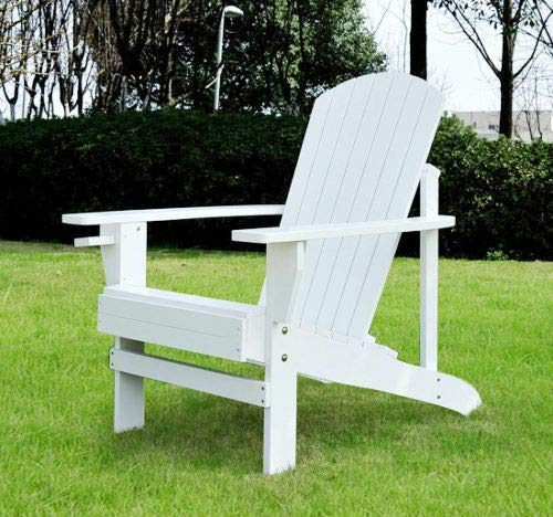 White Wood Relaxing Sprawling Recliner Traditional Handmade Sturdy Durable Construction Classic Adirondack Wide Armrest With Cup Holder Reclining Chair Inner Outside Furniture Living Place Chaise Loun