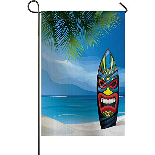 Mask 40' Tiki Bar Decor - Tiki Bar Decor Garden Flags House Banner Decorative Flags Home Outdoor, Tiki Warrior Mask Design Surfboard on Ocean Beach Abstract Landscape Surf, Welcome Holiday Yard Flags, Double Sides 28 x 40inch
