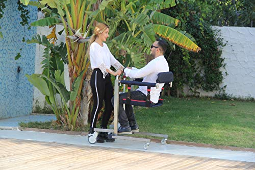 2019 New ComfyGo Ultra Lightweight Full Mesh Sling Hydraulic Electric Patient Lift with Remote Portable Lift with Extra Shower Friendly Seat Waterproof Engine Cover User Friendly Adjustable Lower Back ()