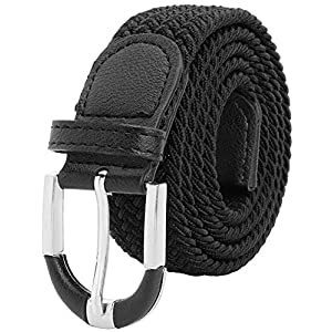 Falari Unisex Braided Elastic Stretch Belt Casual Weave Canvas Fabric Woven Belt
