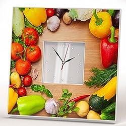 Vegetables Decor Kitchen Wall Clock Framed Mirror Art Home Room Design Gift Wood Rustic Farmhouse