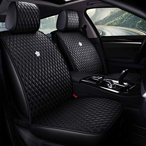 (Luxurious Auto Seat Covers Black Leather Car Seat Cover Full Set 9PCS Front & Rear Seat Covers with Airbag Compatible Universal Fit Most Car Auto Suv (B-Black))