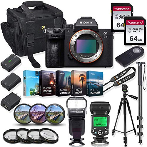 Sony Alpha a7 III Mirrorless Digital Camera (Body Only) Kit + Prime TTL Accessory Bundle with 128GB Memory & Photo/Video Editing Software