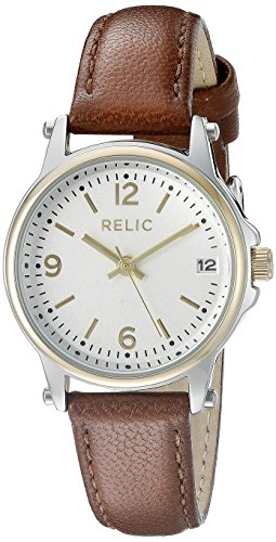 Relic by Fossil Women's Matilda Quartz Two-Tone Metal and Leather Casual Watch, Color: Silver/Gold, Brown (Model: ZR34350)