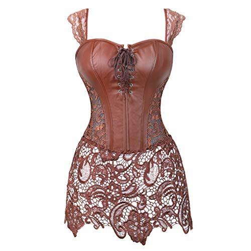 (Women's Punk Rock Faux Leather Corset Bustier Basque Waist Cincher Bustier Lingerie Brown Small)