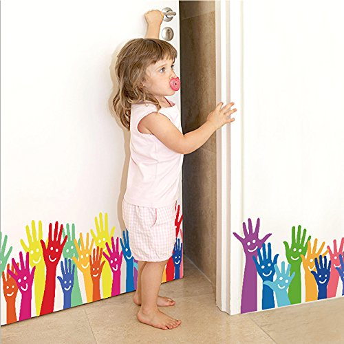 - Wall Border Decals Kids Nursery Decor Primary Color Smiling Hands Art Stickers Length 50