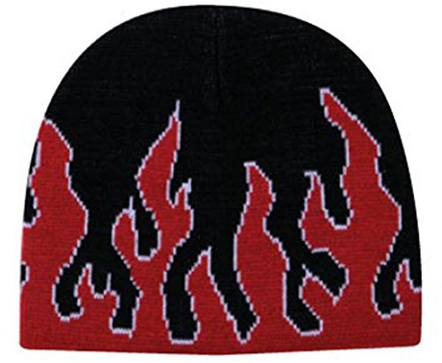 Flame Design Acrylic Knit Two Tone Color Beanies, 8