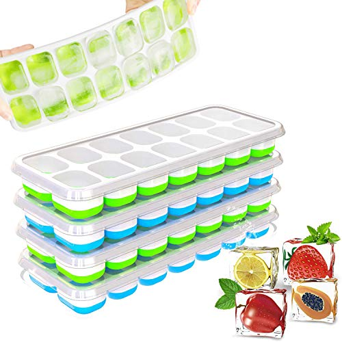 Ice Trays for Freezer with Lid, 4 Pcs Ice Cube Trays Easy Release Reusable, Flexible Silicone Ice Cube Tray with Lid…