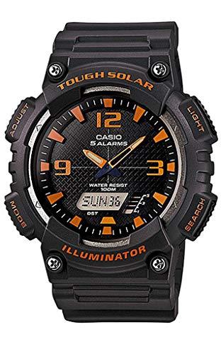 Casio Ana Digi Solar stopwatch, Matte Grey/Orange