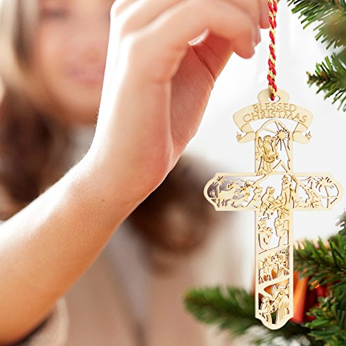 Jolette Designs Nativity Cross Wooden Christmas Ornament : Heirloom Quality Keepsake for Christmas Tree, Home & Car : Precision Laser Cut Red Alder Wood, 4 1/2'' x 2 5/8'', Made in USA by Jolette Designs (Image #2)