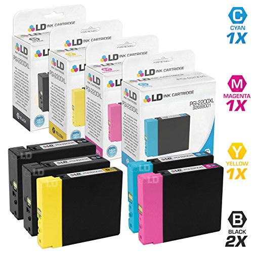 LD Compatible Ink Cartridge Replacement for Canon PGI-2200XL High Yield (2 Black, 1 Cyan, 1 Magenta, 1 Yellow, 5-Pack) ()