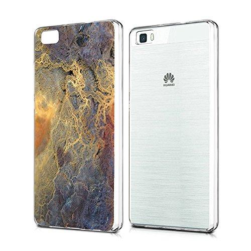 Huawei P8 Lite Funda Silicona Transparente Clear Vanki® Ultra Delgado TPU Case Soft Cover para Huawei P8 Lite Mármol Patrón Diseño Mármol 1