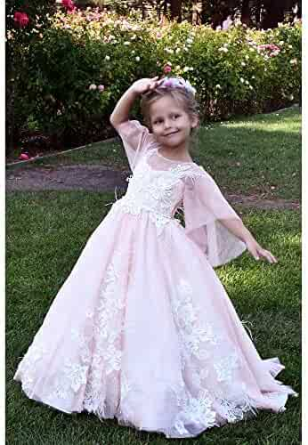a3309662f80 TriumphDress Big Girls Pink Feather Lace Applique Aziza Flower Girl Dress 7  8